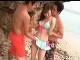Cute Japanese Girl Having A Walk On The Public Beach And Got Fucked By Two Pervert Guys