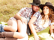 MILF Cowgirl Alice Romain Outdoor Anal