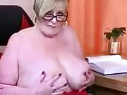 Busty mature British housewife Julia shows her huge tits