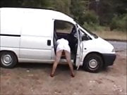 Mature milf Amy flashes her cunt by the roadside