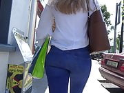 Candid blonde teen in skin tight jeans