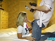 Date Slam - Blonde beauty takes load down her throat