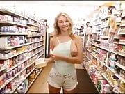 Blonde Cutie flashes her boobies at a Supermarket