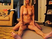 Reverse cowgirl on the floor