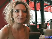 Bea, blonde cougar with big tits loves to eat cock black