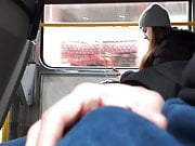 I play with my bulge in bus, teen girl ignored flash