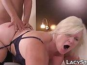 BBW Lacey Starr sucking cock off waiter and fucking cowgirl