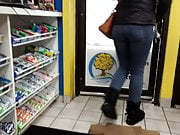 Candid Tight Jeans Babe Gas Station