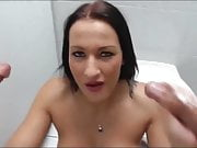 Horny Mom Sucks Two Cocks in the toilet