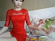 Sexy teen girl in red dress slowly shows pussy