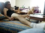 Old and young couple sex on the couch