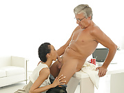 OLD4K. Sweet secretary Liliane caresses boss after hard day