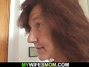 Very old mom in law rides her husbands cock