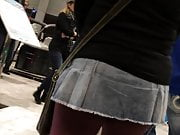 Micro mini skirt at public event!
