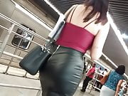 Big ass secretary leather skirt 1