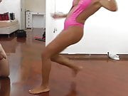 MUSCLE BLONDE PINK SWIMSUIT BALLBUSTING SESSION