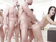 Nicole Black 10 man gangbang DAP TP & swallow all the cum