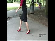 Stiletto Girl Maria teases in shiny nylons red high heels